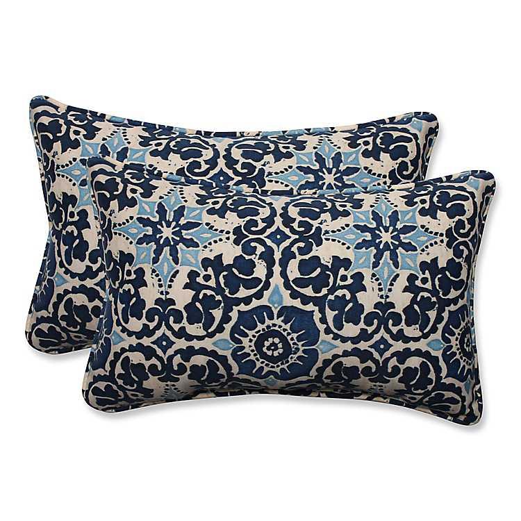 Blue Woodblock Prism Accent Pillows Set Of 2 Kirklands