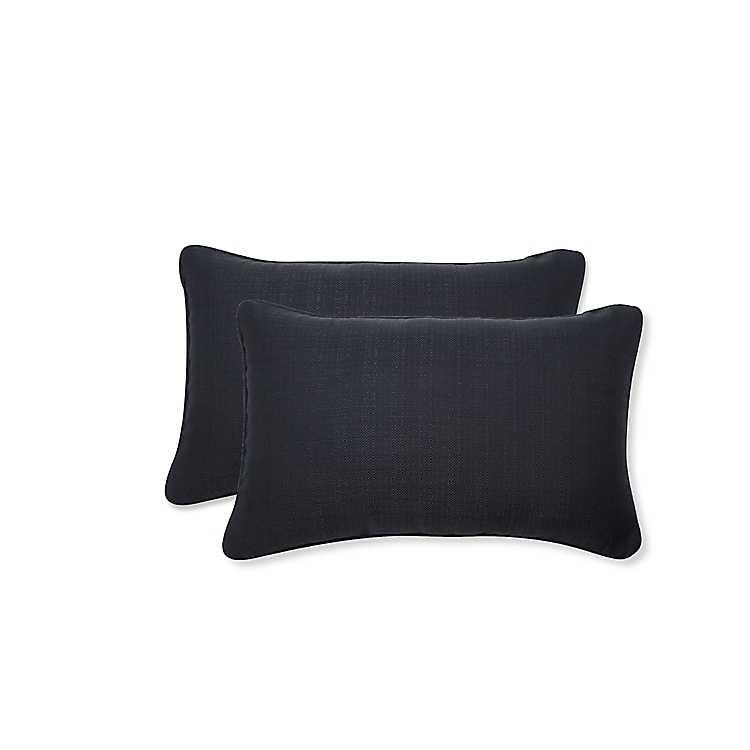 Solid Matte Black Outdoor Lumbar Pillows Set Of 2 Kirklands