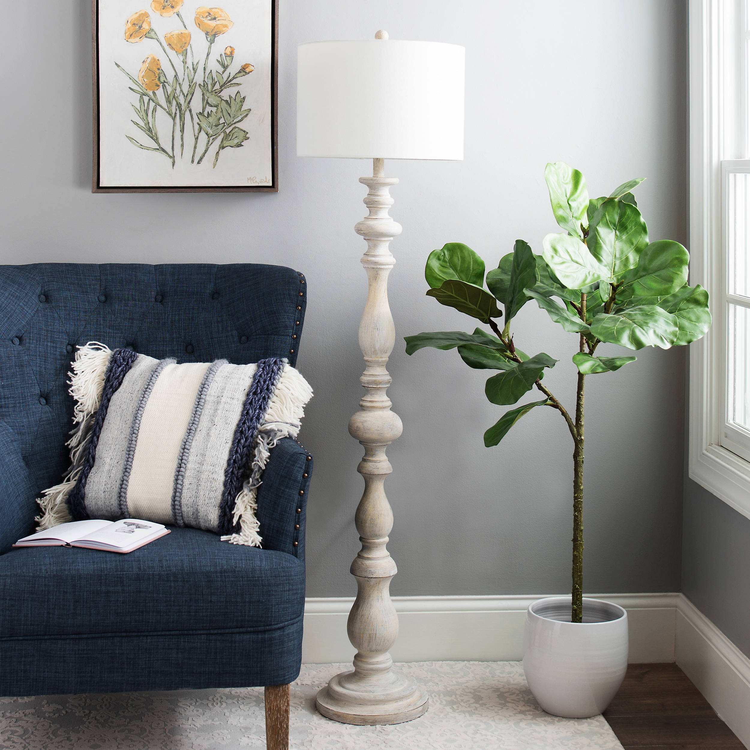 Shop Distressed Cream Carved Spindle Floor Lamp from Kirkland's on Openhaus