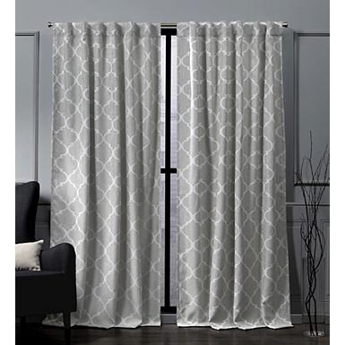 Ash Gray Quatrefoil Curtain Panel Set