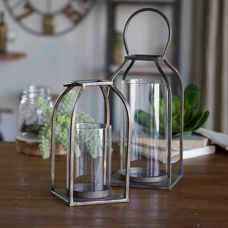Open Frame Metal Lanterns Set Of 2 Kirklands
