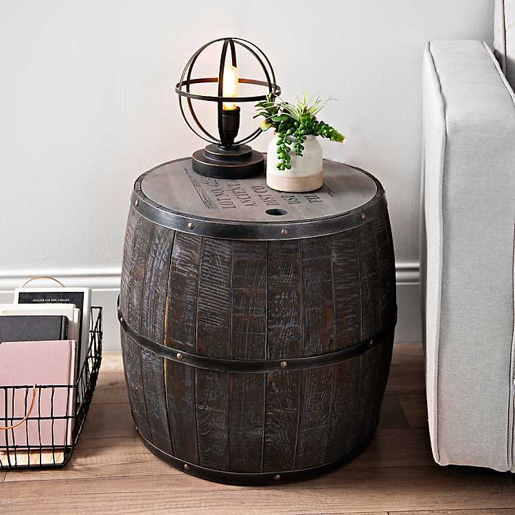 Short Whiskey Barrel Storage Accent Table Kirklands