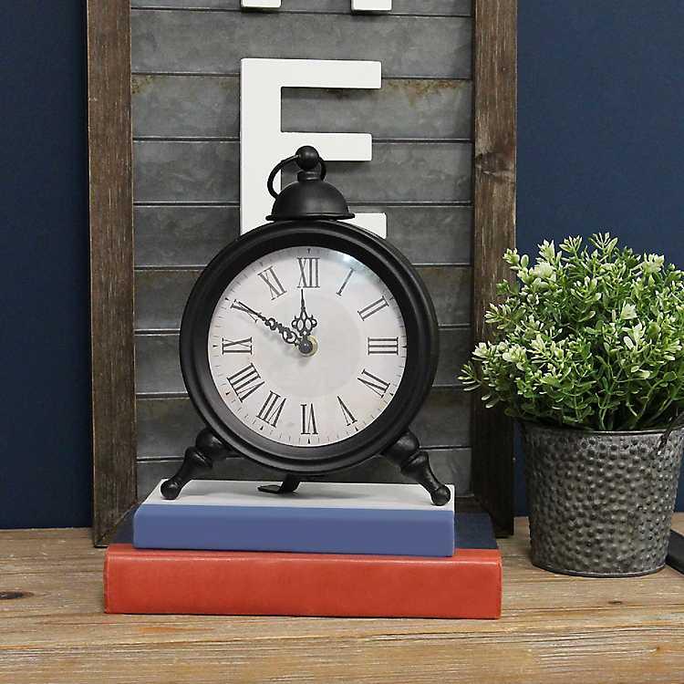 Black Retro Style Tabletop Clock Kirklands