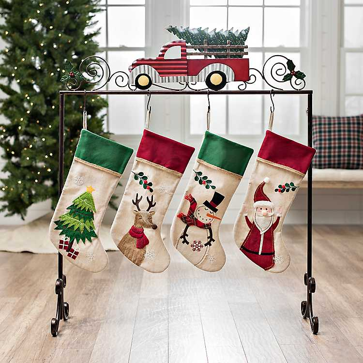 Truck With Tree Metal Stocking Holder Kirklands