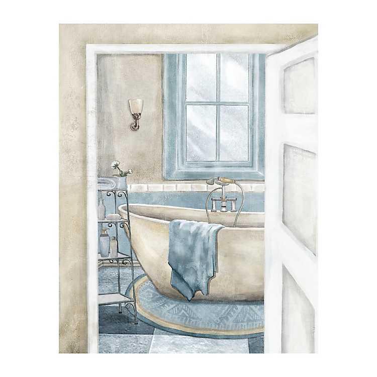 Blue Bathroom Ii Giclee Canvas Art Print Kirklands