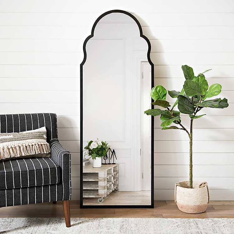 Maria Metal Black Arch Full Length, Full Length Mirror Oval Top