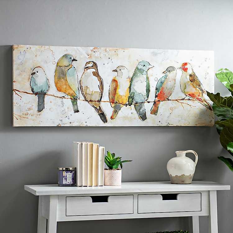 Colorful Birds On Wire Canvas Art Print Kirklands