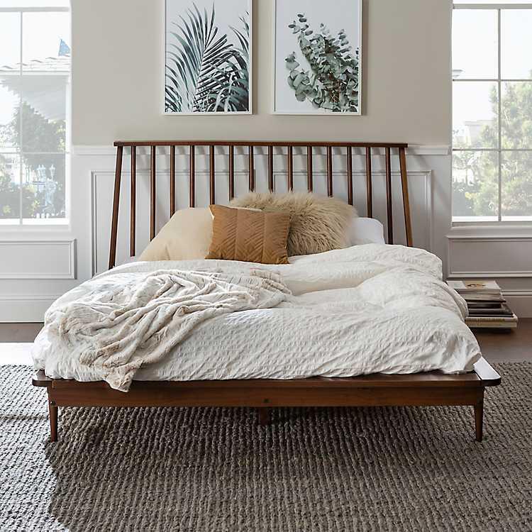 Walnut Mid Century Modern Queen Bed, Mid Century Queen Bedspread