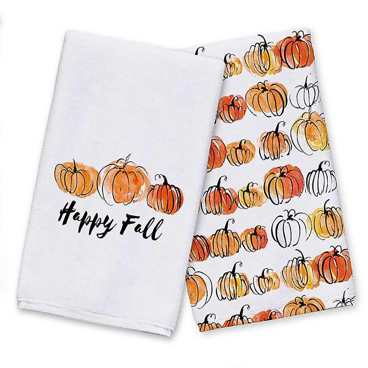Happy Fall Pumpkin Kitchen Towels Set Of 2 Kirklands