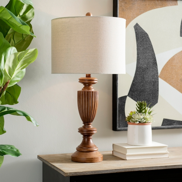 Fluted Traditional Woodtone Table Lamp Kirklands