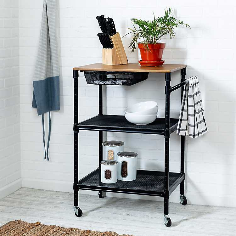dapur kecil tanpa lemari - rolling cart