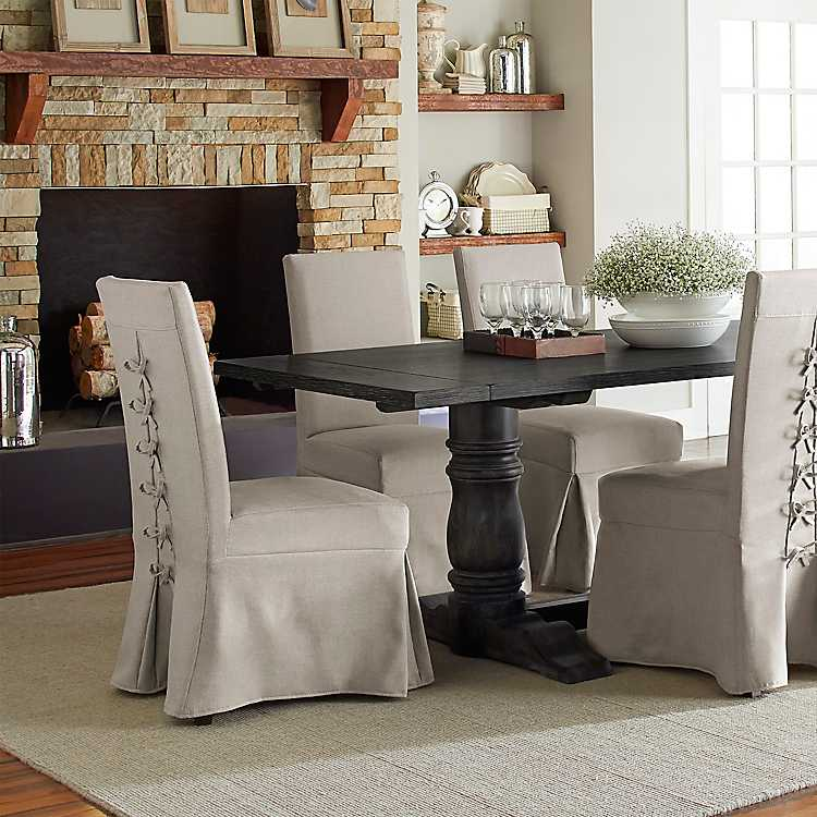 Skirted Murray Parson Chairs Set Of 2, Skirted Parsons Chairs Dining Room Furniture