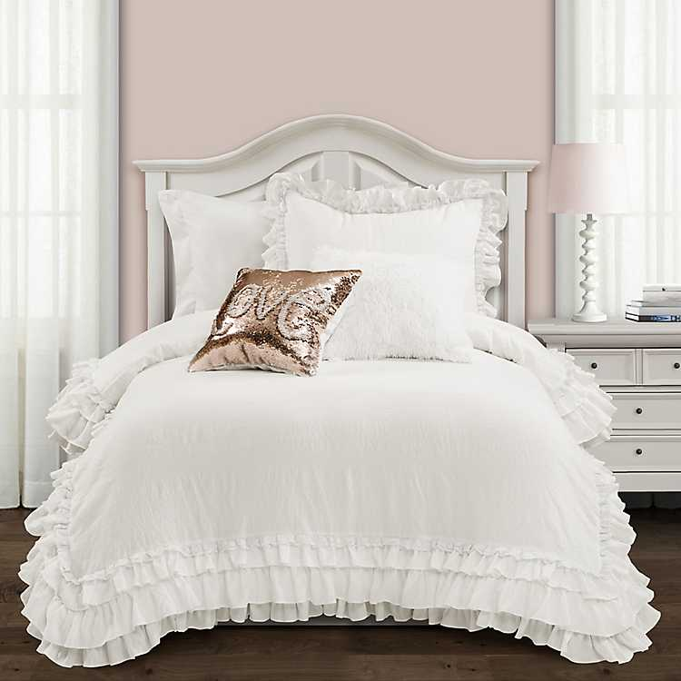 White Shabby Chic 2 Pc Twin Xl, White Bedding For Twin Bed