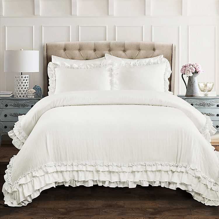 White Shabby Chic Ruffle 3 Pc King, Queen Bedding With Ruffles