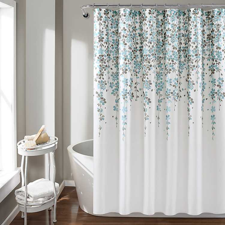 Gray Weeping Flower Shower Curtain, Shower Curtains Gray And Blue