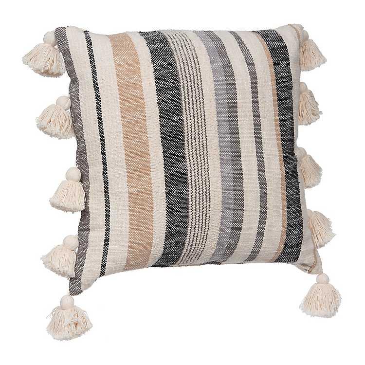 Natural Zadey Striped Side Tassel Pillow 22 In Kirklands