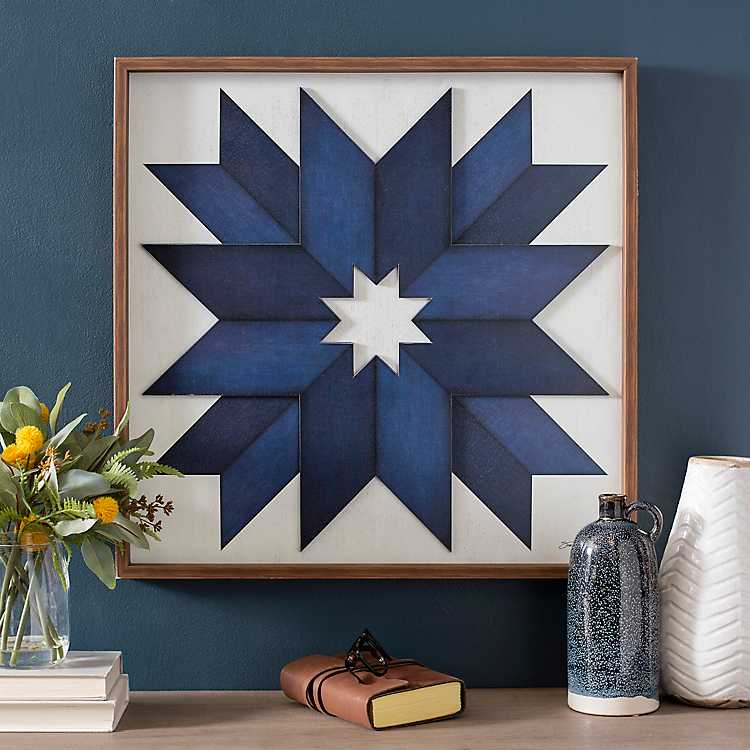 Navy Quilt Pattern Wood Wall Plaque Kirklands
