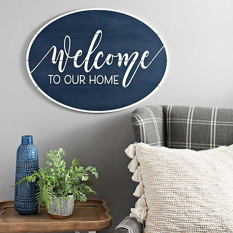 Navy Welcome To Our Home Oval Wooden Wall Plaque Kirklands