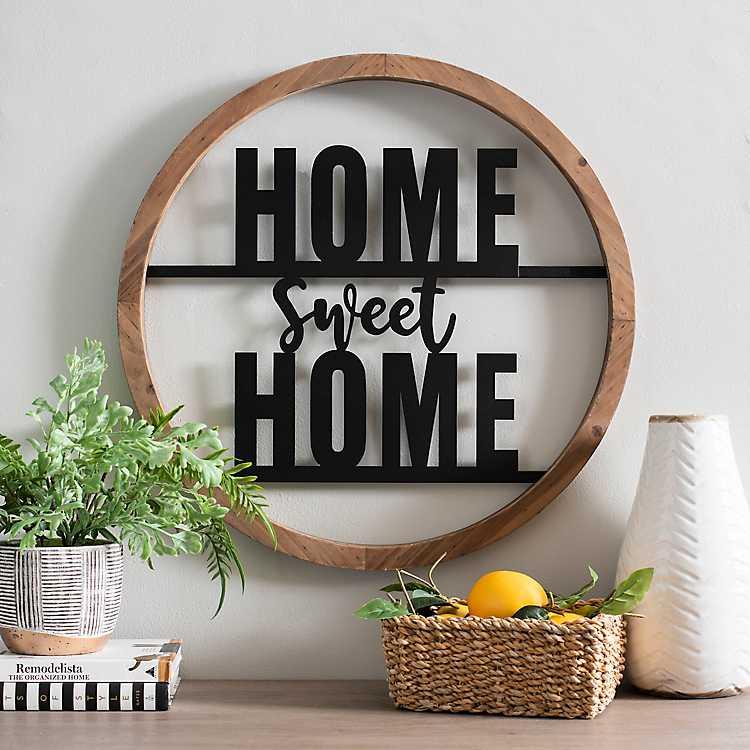 Wood And Metal Home Sweet Home Round Plaque Kirklands