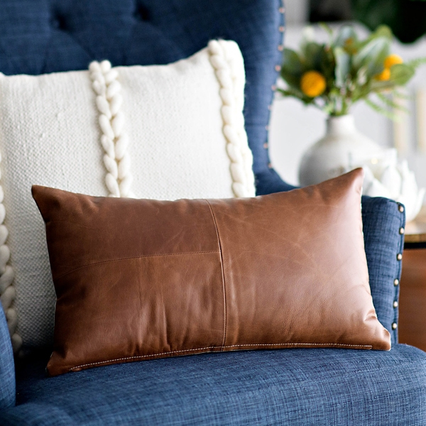 Brown Leather Accent Pillow