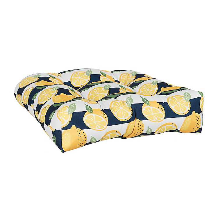 Outdoor Decor Navy Palm Square Chair Cushion
