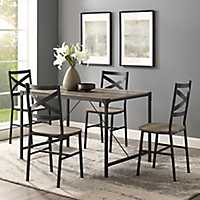 Gray Wash Industrial Jason Dining Set, Set of 5