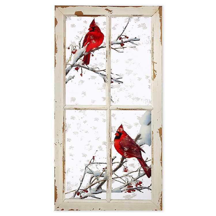 Cardinals On A Branch Window Frame Art Print Kirklands