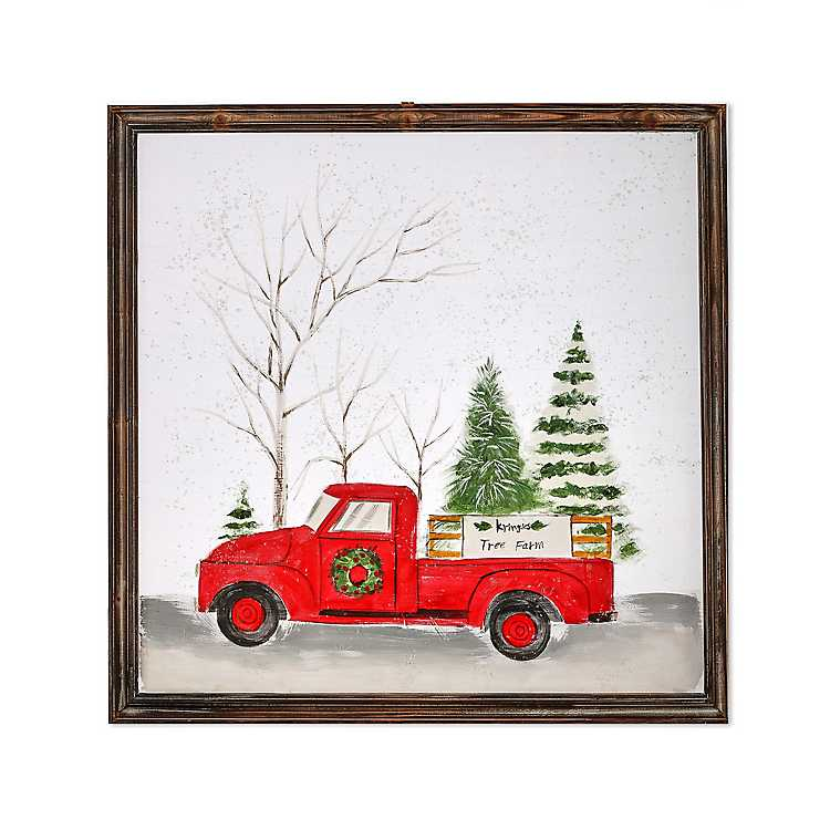 Tree Farm Truck In The Snow Framed Art Print Kirklands