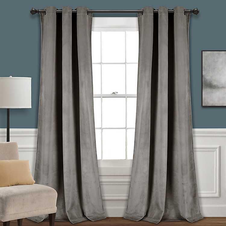 Dark Gray Prima Velvet Curtain Panel
