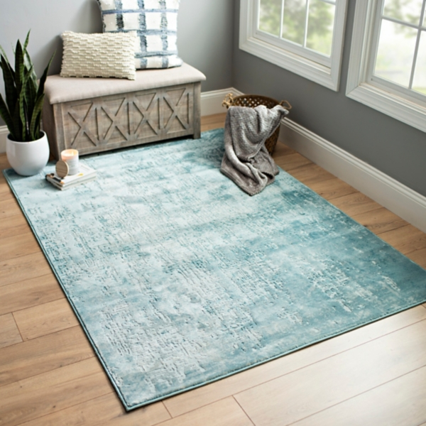 Blue Green Velvet area rug