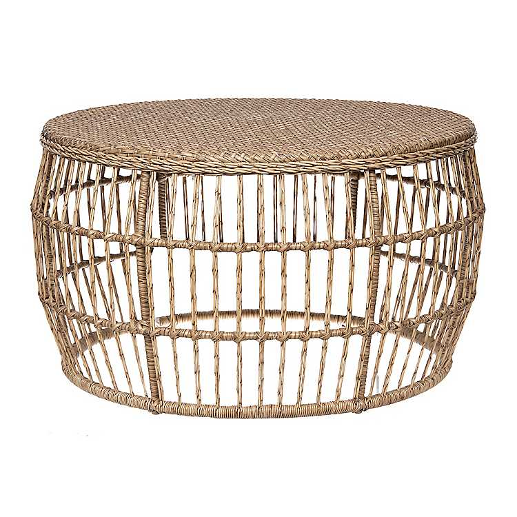 Natural Wicker Outdoor Coffee Table