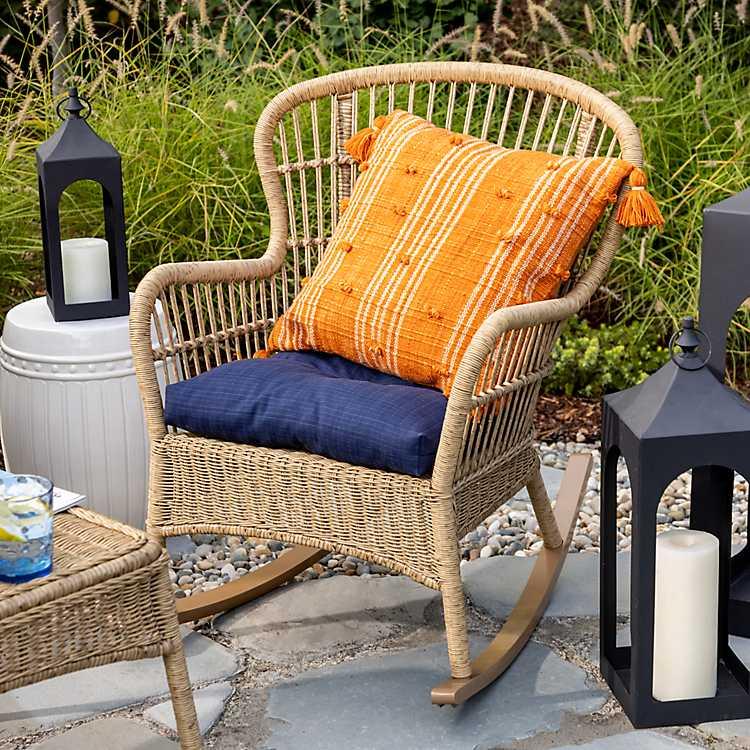Tulum Natural Wicker Outdoor Rocker, Outdoor Furniture Rocking Chair