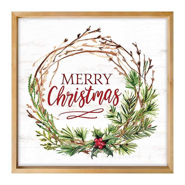 Merry Christmas Wreath Framed Wall Art Kirklands