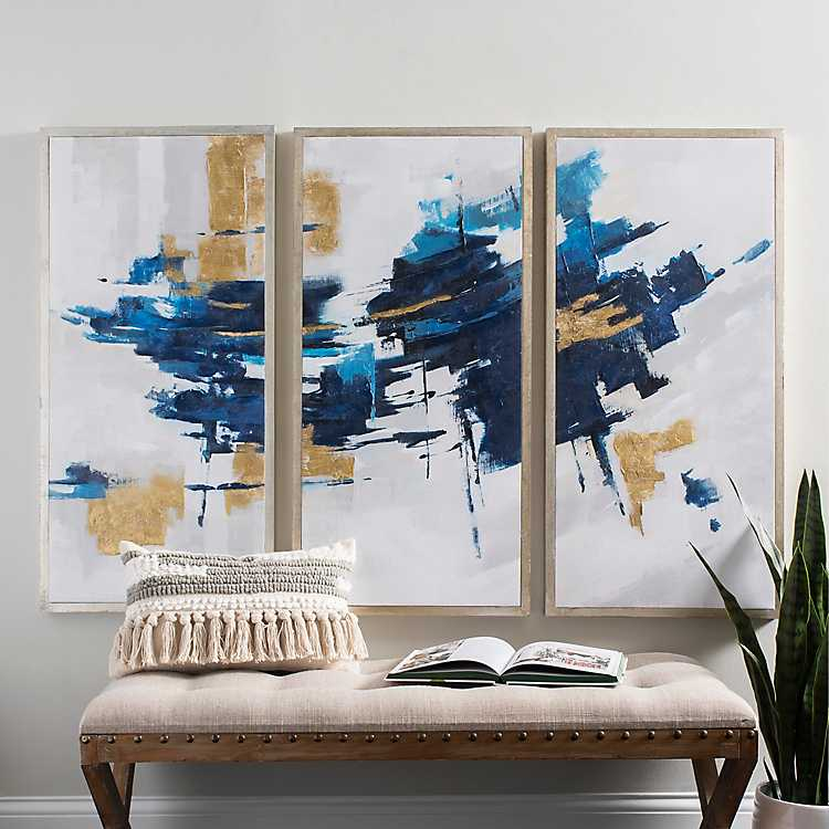 Navy And Gold Abstract Canvas Art Prints Set Of 3 Kirklands