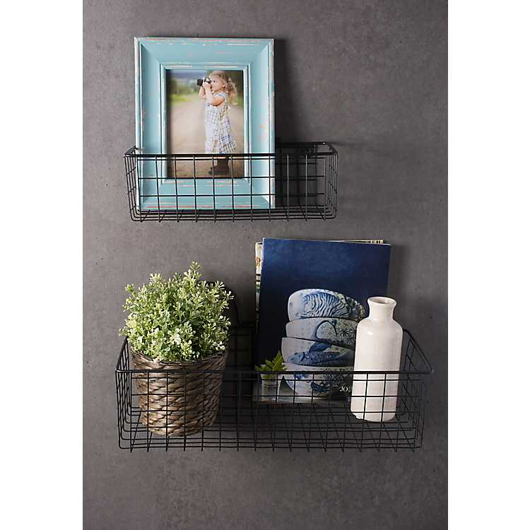 Black Wall Hanging Wire Baskets Set Of, Bathroom Wall Baskets