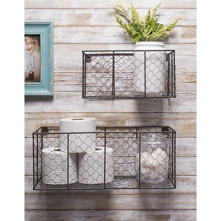 Wall Hanging En Wire Baskets Set, Bathroom Wall Baskets