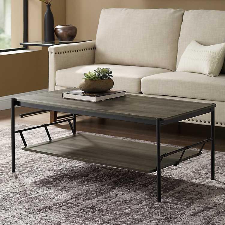 Slate Gray Coffee Table With Hammock Shelf Kirklands