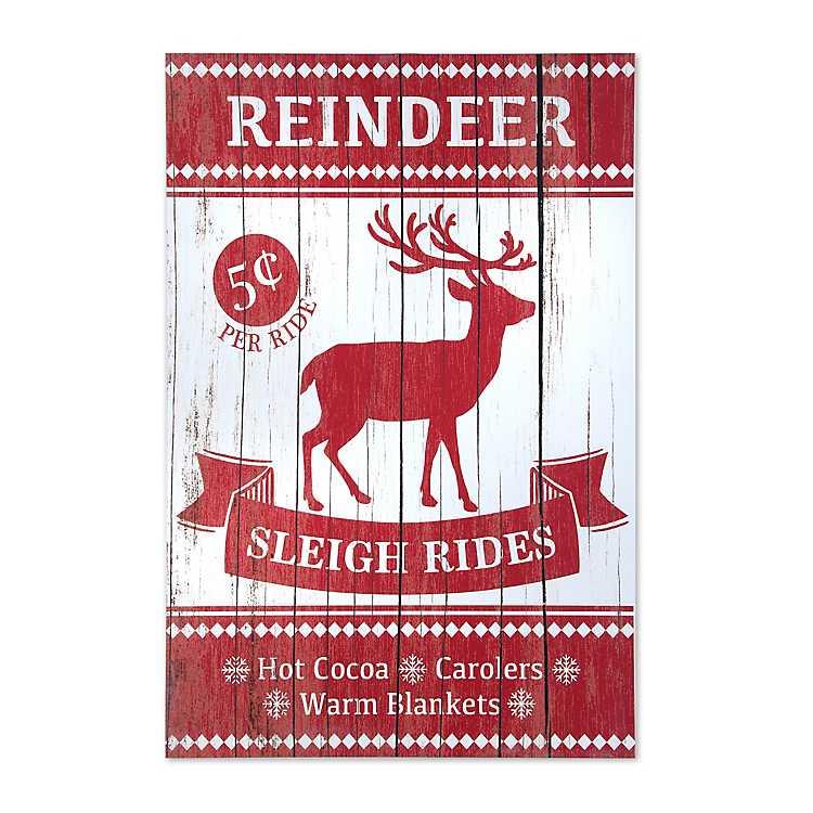 Wood Reindeer Sleigh Rides Wall Plaque Kirklands