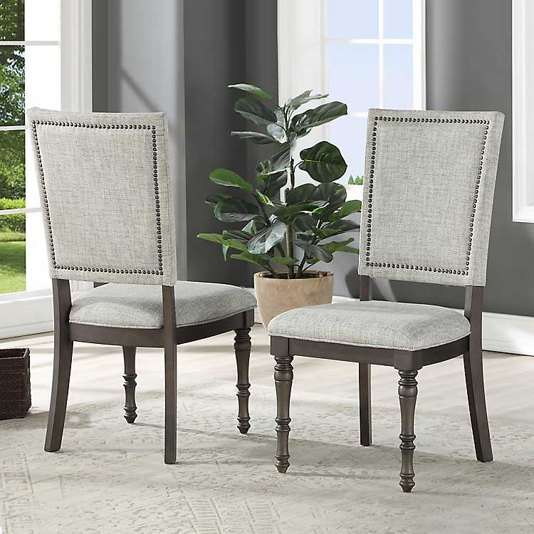 Gray Dawson Upholstered Dining Chairs Set Of 2 Kirklands