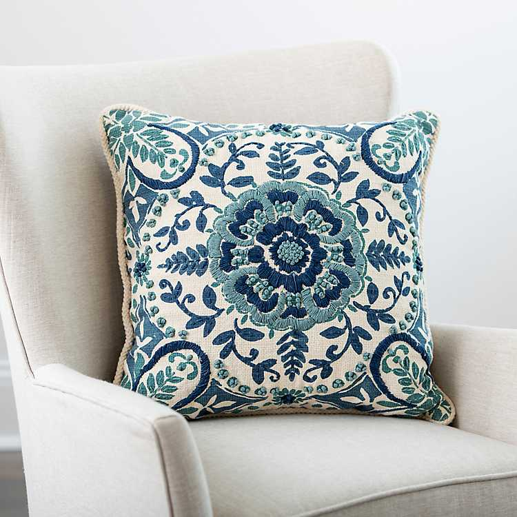 Blue Embroidered Rope Edge French Claudia Pillow Kirklands