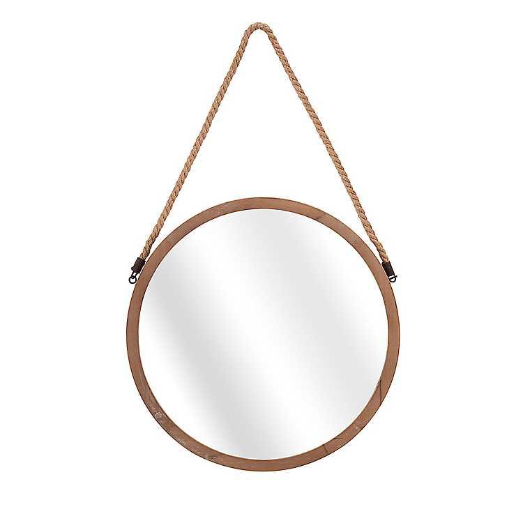 Round Wooden Mirror With Jute Rope Hanging Kirklands