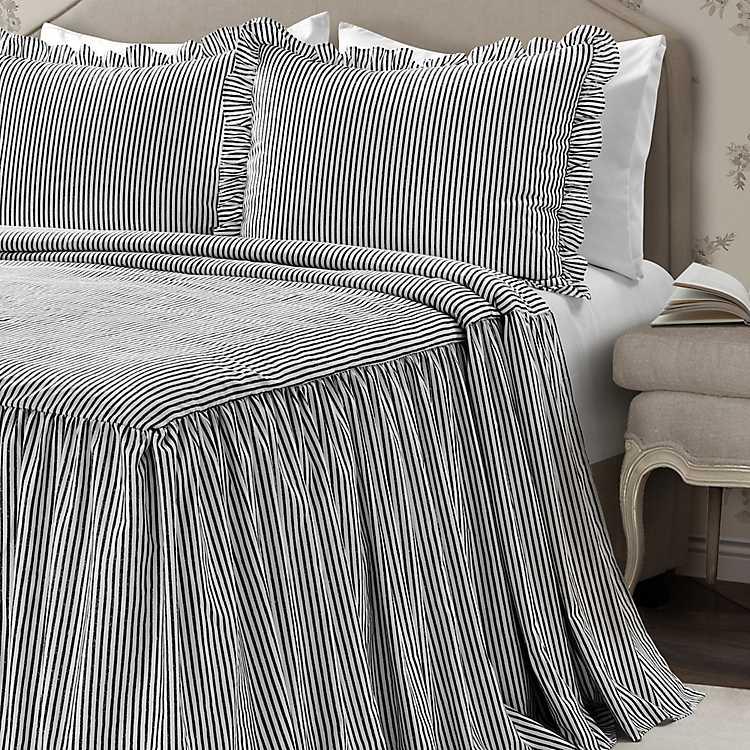 Black Ticking Stripe 3 Pc King, Black Ticking Stripe Bedding