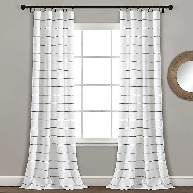 Gray Ombre Stripe Curtain Panel Set 84, Grey Striped Curtains