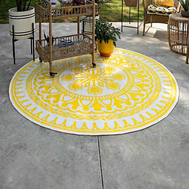 Yellow Aztec Circle Outdoor Area Rug 6