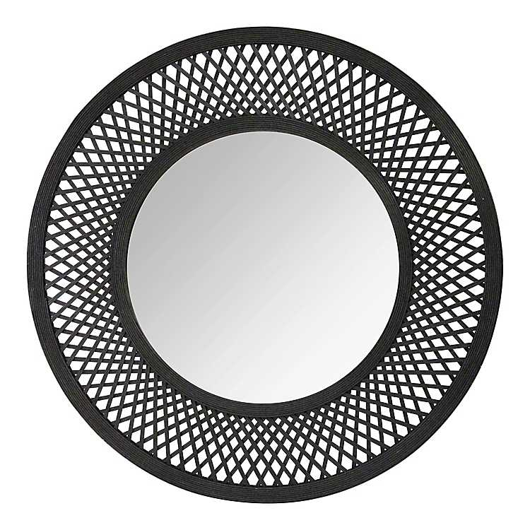Black Rattan Woven Decorative Wall Mirror 38 In Kirklands