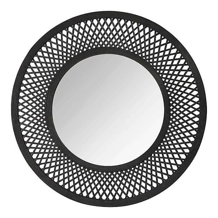 Black Rattan Woven Decorative Wall Mirror 38 In Kirklands