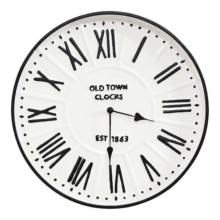 White Enamel Farmhouse Wall Clock Kirklands