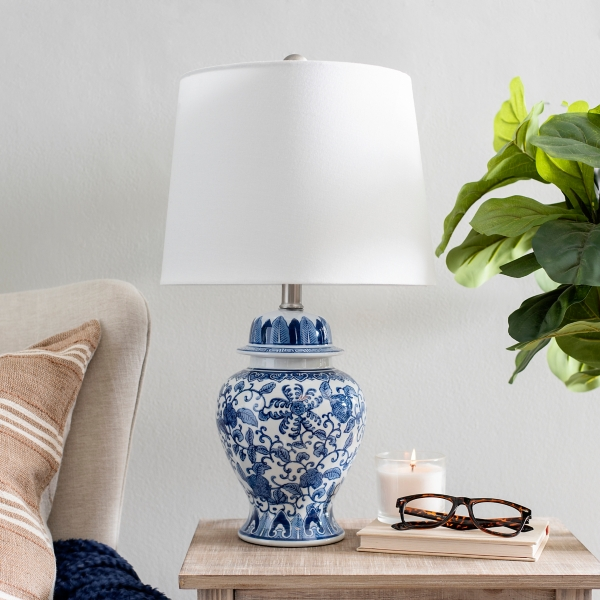 Blue and White Ginger Vase Table Lamp