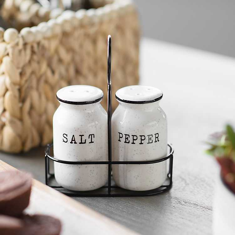 Speckle Salt and Pepper Shakers with Caddy | Kirklands