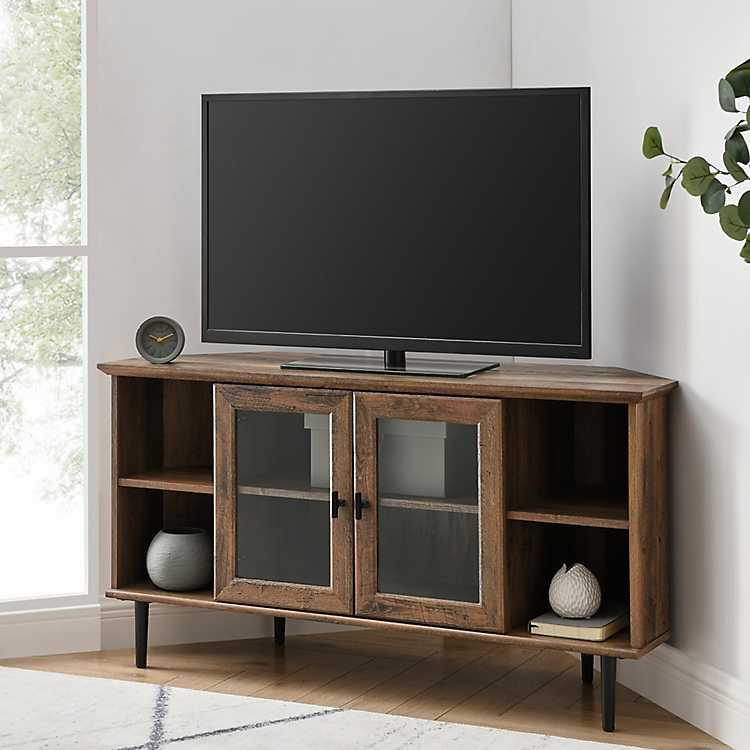 Rustic Oak Glass Door Corner Tv Stand Kirklands